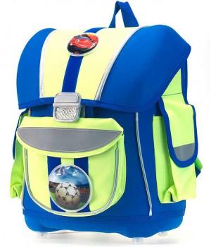 Рюкзак для мальчика 1-5 класс с анатомической спинкой (синий с зеленым)